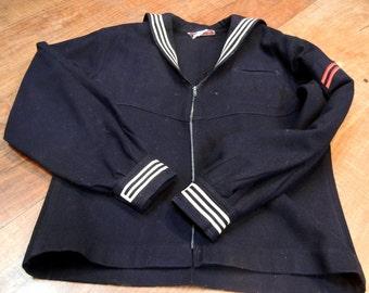 Vintage sailor jacket - 1940s-1960s - U.S. Navy uniform - black wool sailor's top