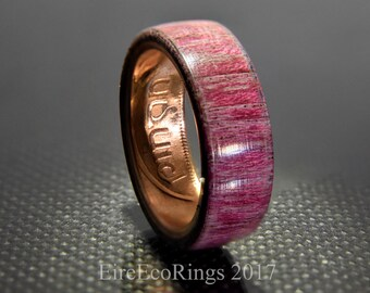 Wood wedding rings Irish coin wedding ring with purple heart wood