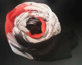 Red Hot Silk Shawl,oneofakind,hand painted scarves and wraps,luxury accessories for women,black,white,silk scarves,michelemorganart,scarf