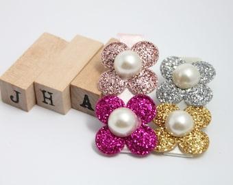 Children/Girls/Baby girl hair clip - Glitter flowers pink gold silver