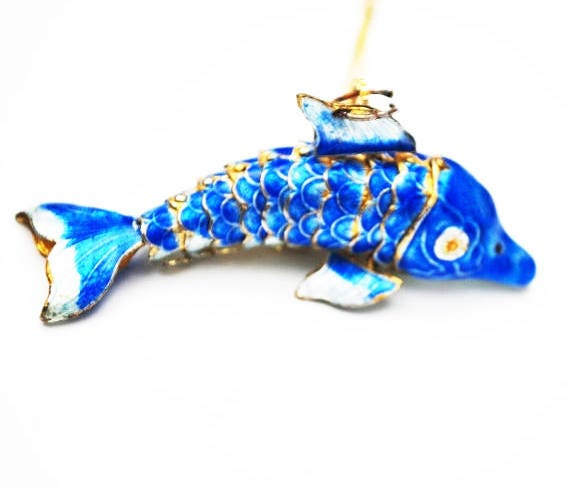 Blue Enamel Articulate Fish Necklace - gold chain - dolphin sea life  - pendant