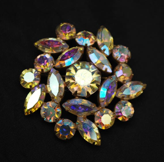 Large Rhinestone Brooch -  Aurora Borealis Crystal - Floral flower pin - Juliana Style - Wedding bride