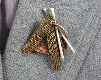 Knitters Brooch- Knitting Jewelry- Gifts for Knitters- mixed metal jewelry