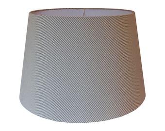 Custom Lamp Shade - Cotton Ticking Lamp Shade- Striped Lampshade - Fabric Lamp Shades - Gray Lampshades - Table Lamp Shade - Made to Order