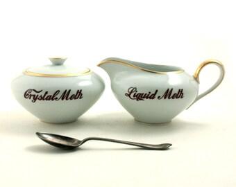 Crystal Liquid Meth Altered Vintage Creamer Porcelain Lidded Sugar Pot Redesigned Addiction Drug Whimsical Present Gift  White Fun Funny