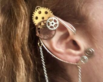 Steampunk Elf Ear Cuff, Steampunk Ear Cuff, Fairy Ear Cuff, Fairy Earcuff, Shannara Chronicles,Festival Jewelry, Steampunk Jewelry