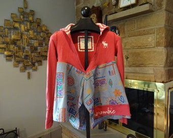 Upcycled Funky Boho abercrombie Hooded Tunic size Medium
