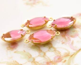 Vintage 15x7mm Pink & Clear Givre Navette Stones in Brass Prong Settings Drop or Connector - 4