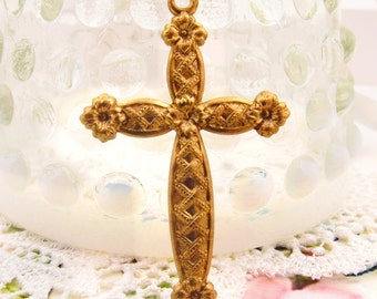 Large Floral Embossed Raw Brass Cross Pendant 50mm Tall – 2