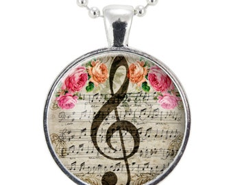 G-Clef Necklace, Music Note Jewelry, Gifts For Music Lovers (1053S25MMBC)