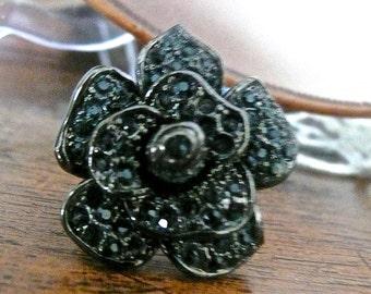 Ring - Black Rose - Glass Ring - Vintage Ring - Formal Jewelry - Statement - Indie - Gipsy - Rocker - Hipster - Glass Ring - Designer Ring -