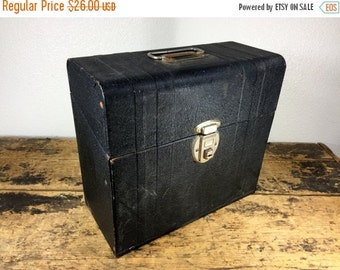 ON SALE Exapandable Black Metal File Box / Locking Secret Storage / Original Key