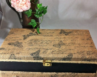 Large Burlap Jewelry Box, Rustic Jewelry Organizer, Burlap & Black Butterfly Jewelry Storage, French Country Jewelry Box, Farmhouse Storage
