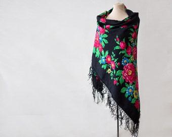 black Russian shawl with roses and field flowers, folk art, large wool challis, piano shawl, gypsy shawl, boho throw warm for winter