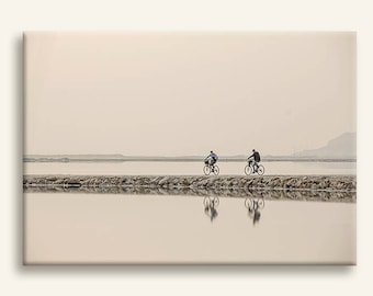 Sepia minimal photography print on canvas - Bicycle riders at dawn at the Dead Sea- housewarming gift