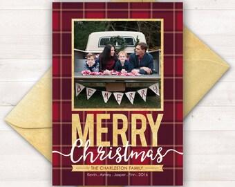 Christmas Cards, Photo Holiday Cards, Plaid Christmas Card, Printable Christmas Cards, Photo Christmas Card, Custom Holiday Cards Xmas Cards