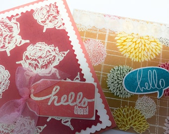 Handmade Hello cards: hello there - white roses - kraft - white emossed roses - smoky rose - hand stamped - hand made cards - Wcards
