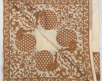 """Vintage Embroidered Woven Peacock Hearts Floral European Tablecloth 39"""" x 39"""" Square"""