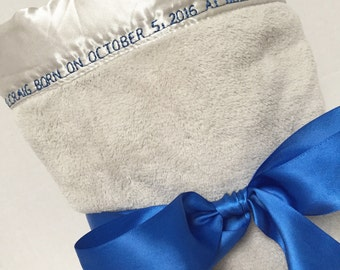 Birth Announcement Blanket, Baby Blanket, Christening Blanket, Baby Keepsake, Personalize Baby Blanket, Blanket Handmade, Baby Gift