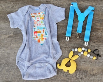 Tie Onesie Suspenders Elephent Car Seat Teether - Car Tie Onesie-  Boy Onesie- Baby Onesie- Boy Baby Shower Gift Set- Little Man