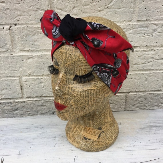 Retro Telephone Headscarf Rockabilly Pinup