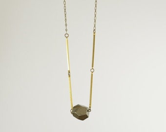 "Faceted Pyrite necklace on a 28"" Brass Chain"