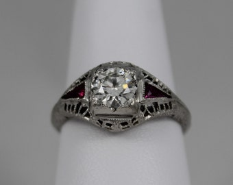 18K White Gold Diamond and Synthetic Ruby Filigree Ring