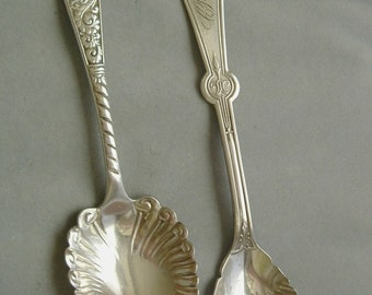 Two Antique Silverplate Sugar Shells Spoons-Rogers Assyrian & Persian