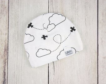 Organic Baby Hat with Airplanes + Clouds in Black and White - Organic Cotton Baby Beanie - Monochrome Plane Organic Fabric - READY TO SHIP!