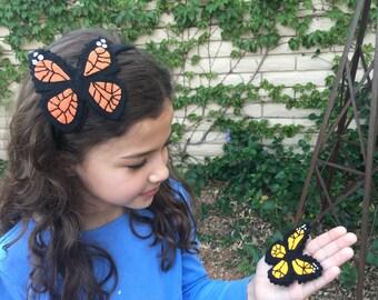 Monarch butterfly hair clip/headband, felt hand stitched