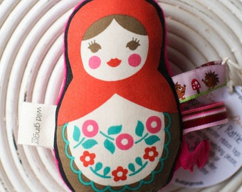 Red and Pink and Brown, Pink Cashmere Backing, Matryoshka Doll Baby Rattle, Tag Toy, Wool Stuffed