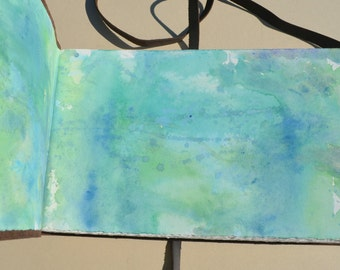 Leather Bound Sketchbook Watercolor Journal Personal Art Ledger Diary (597C)