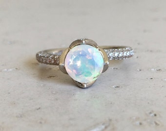 Lotus Flower Opal Engagement Ring- Rose Gold Opal Promise Ring- Diamond Opal Bridal Ring- Rose Gold Opal Wedding Ring- Fire Opal Ring