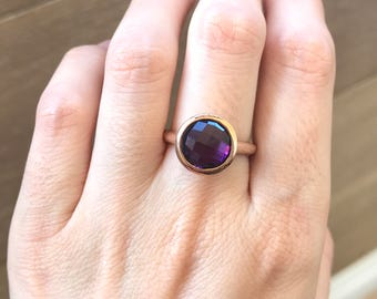 Rose Gold Ring- Classic Purple Amethyst Ring- Simple Purple Ring- Purple Gemstone Ring- February Birthstone Ring- Rose Gold Promise Ring