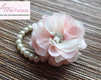 Wrist Corsage, Chiffon Flower Corsage (Ivory and Cherry Blossom Pink), Ivory and Pink Corsage, Chiffon Rose corsage