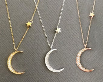 Moon necklace, Star Necklace, 925 Silver and 18k vermeil Pave Crescent Moon necklace, Star necklace, gift for mom, gift for her