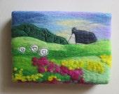 felt landscape, wall art, art on canvas