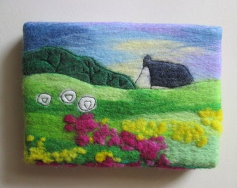 felt landscape, wall art, art on canvas