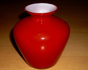 Free shipping! Mid-century red cased glass vase