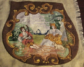 Vintage 1940s Petit Point Needlepoint Embroidery Purse Panel Figural Courtship