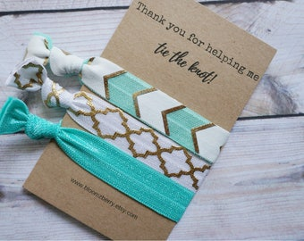 Bridemaid Gift 3 pcs set-Aqua/White/Gold - Thank you for helping me tie the knot - Wedding/Bridesmaid/Gift/Wedding Party/Bridesmaid Gift