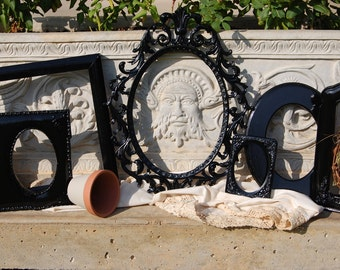 Black Shabby Chic Picture Frames  - Ornate PICTURE FRAMES - Vintage Frame Collection - Gallery Wall Decor