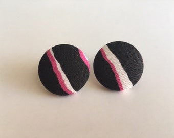 Black, Pink and White Earrings
