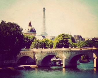 Paris landscape photograph, fine art, Paris photography, French decor, Paris art - Under the Bridges of Paris