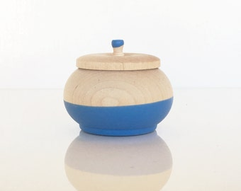 Treasure Pots,  Something Blue by Willful, wedding ring box, engagement, small wood pot, spice pot