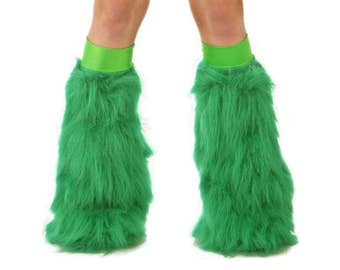 Emerald Green Rave Fluffies - Fluffy Leg Warmers - Furry Boot Covers - Long Pile Faux Fur Emerald Green Fluffies
