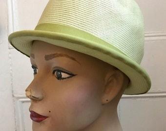1960s Mint Green Straw Bucket Hat | Mr. John Classic