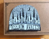 Freedom Awaits Vinyl Sticker, Great Outdoors Sticker, Nature Decal, Laptop Decal, Bumper Sticker, Adventure Explore Northwest Travel Trees