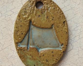 Large Glazed Pottery Pet Cremains Motif Pendant or Ornament - Custom Memorial Pet Cremation Keepsake - TENT