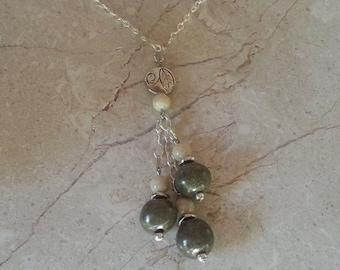 Memorial Bead Pendant or Necklace - Custom Keepsake Stoneware Pottery Pet Cremains Jewelry - GREENS-LEAVES Trio Drop Pendant